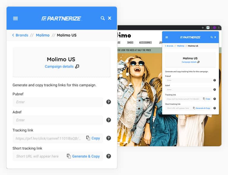 Partnerize shortlink chrome extension
