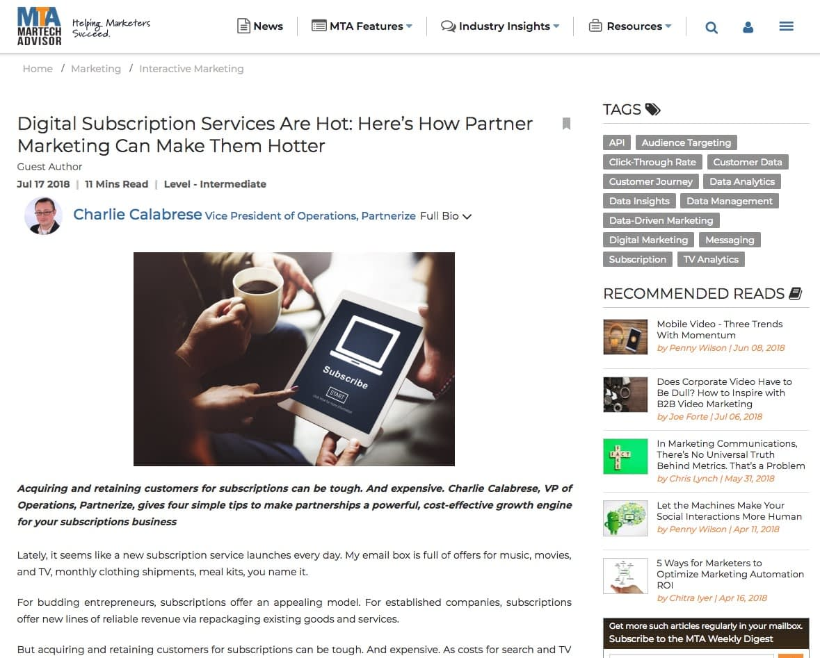 Partnerships subscription services